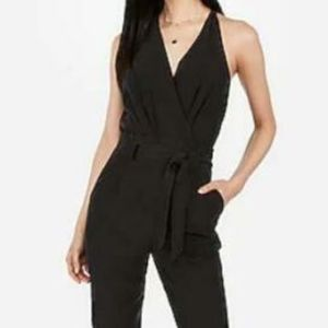 EXPRESS BLACK WASHED BELTED SURPLICE JUMPSUIT NEW